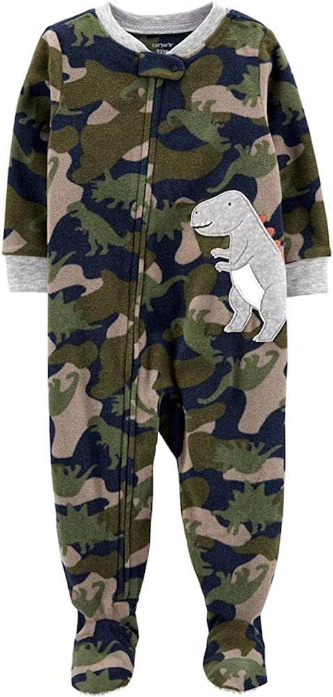 Carters Boys Camo Dinosaur Fleece Zip-up Footed Sleeper