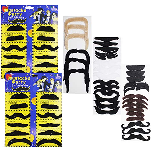 YuCool 60 Pieces Self Adhesive Fake Mustaches, Novelty False Mustaches for Masquerade Party & Performance