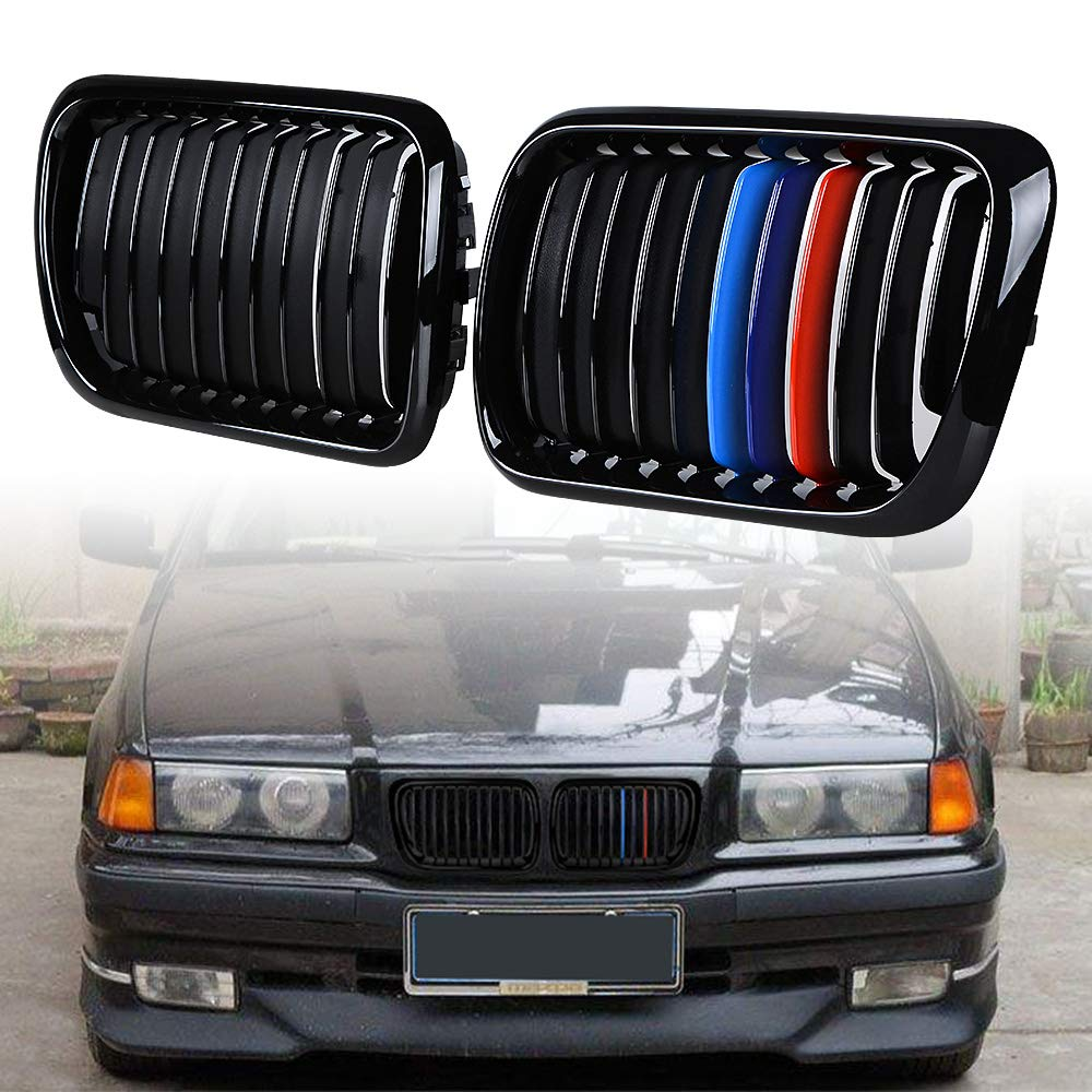 Compatible with 97-99 BMW E36 3-series 318i 323ic 328i 323i Front Center Kidney Grille Grill Glossy Black + M Color