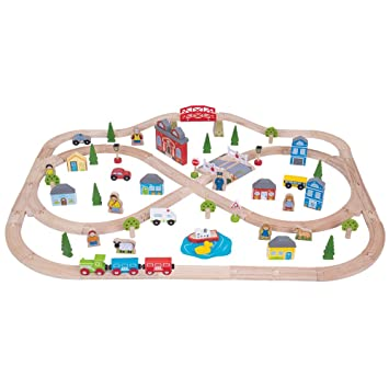 Bigjigs Rail Wooden Town and Country Train Set - 101 Play Pieces ...