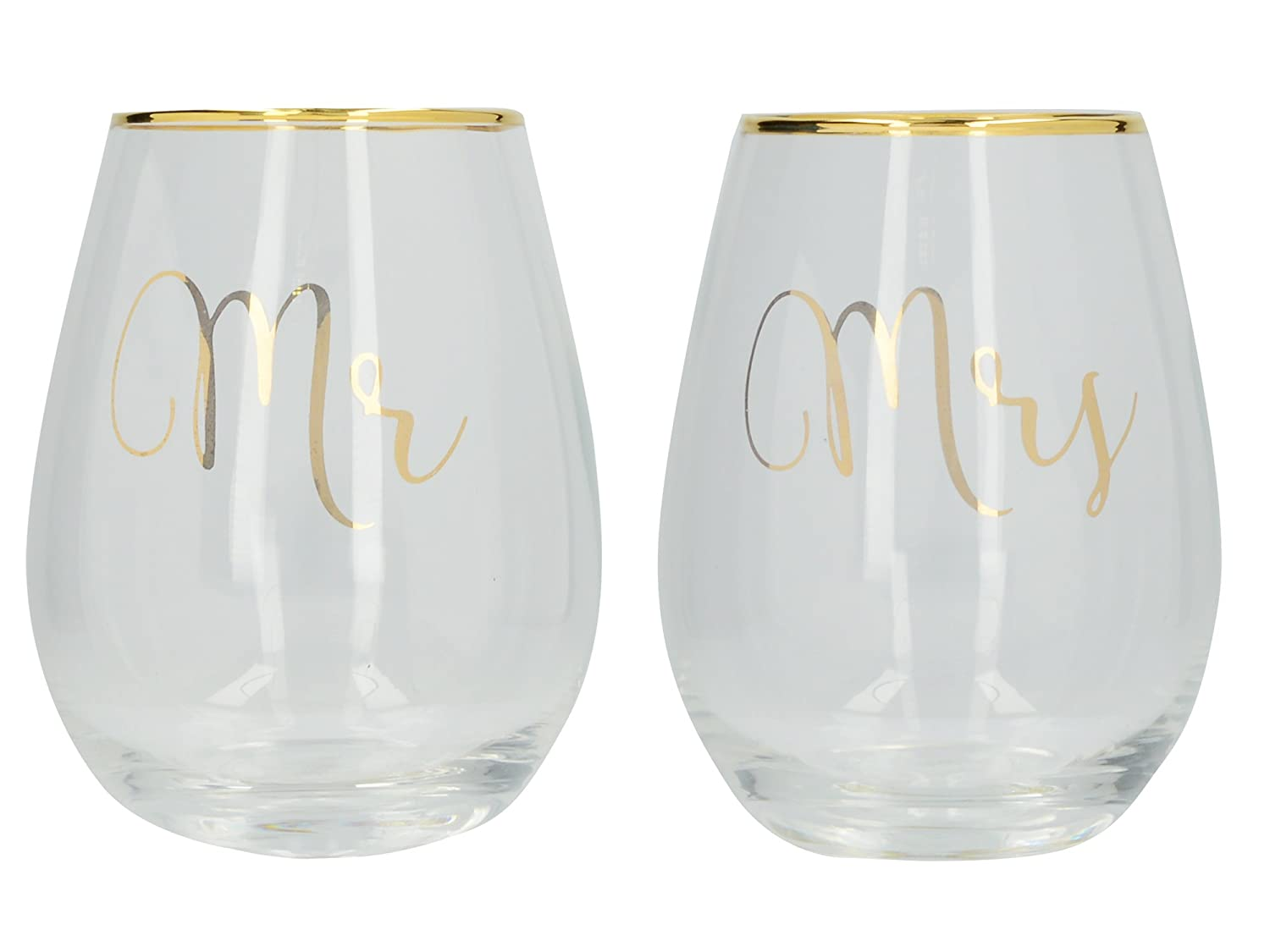 Creative Tops Ava & I 'Mr' and 'Mrs' Decorated Stemless Wine Glasses, 590 ml (Set of 2) 5226392