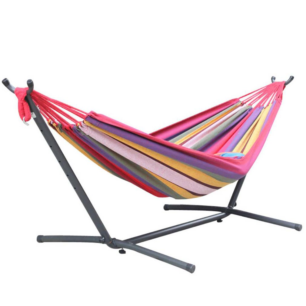Toytexx Double Hammock with Space Saving Steel Stand Includes Portable Carrying Bag-Red Color