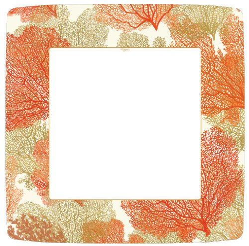 Entertaining with Caspari Sea Fans Paper Square Dinner Plates, Coral, Pack of ()