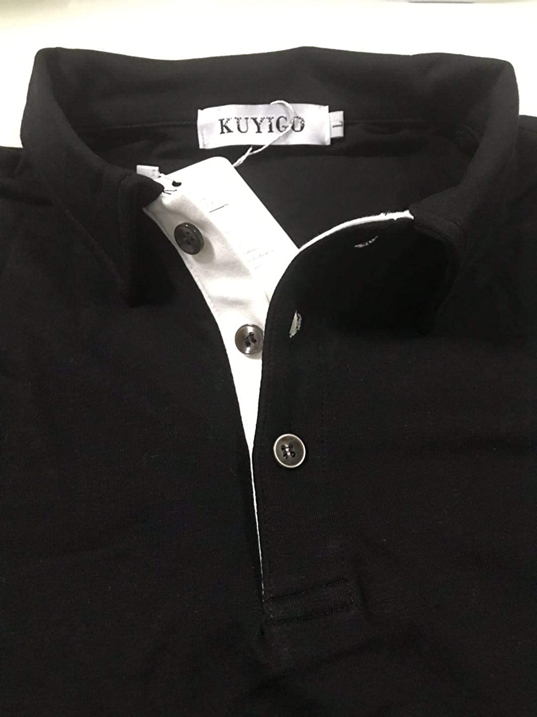 KUYIGO Men's Long Sleeve Polo Shirts Casual Slim Fit Basic Designed Cotton Shirts at  Men's Clothing store