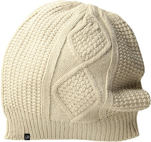 - Plush Women's Fleece-Lined Diamond Cable Knit Beanie Mink One Size