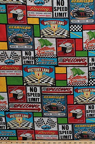 Cotton Victory Lane Racing Words Cars Speedway Fabric Print by the Yard AYB-71811-2