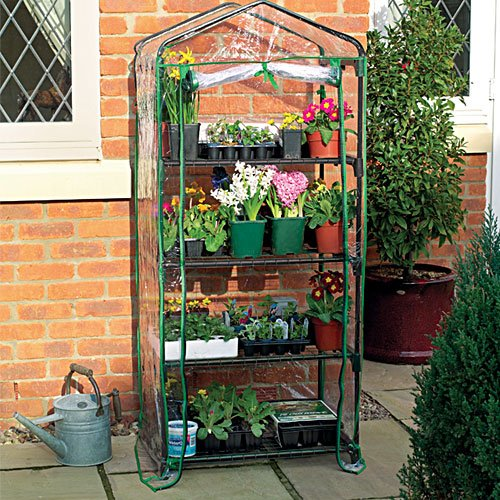 Mini Greenhouse for a deck, patio, or balcony - 4-Tier, 62 inches tall