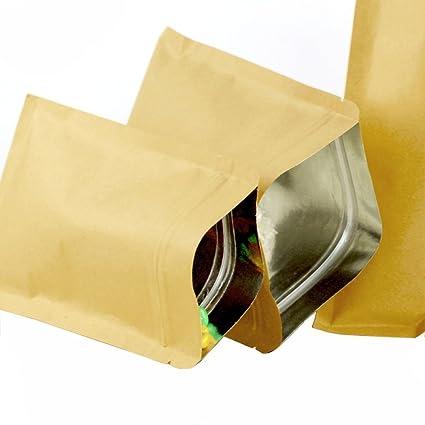 50pcs (5.5mil) Kraft papel soporte de base bolsa hermética ...