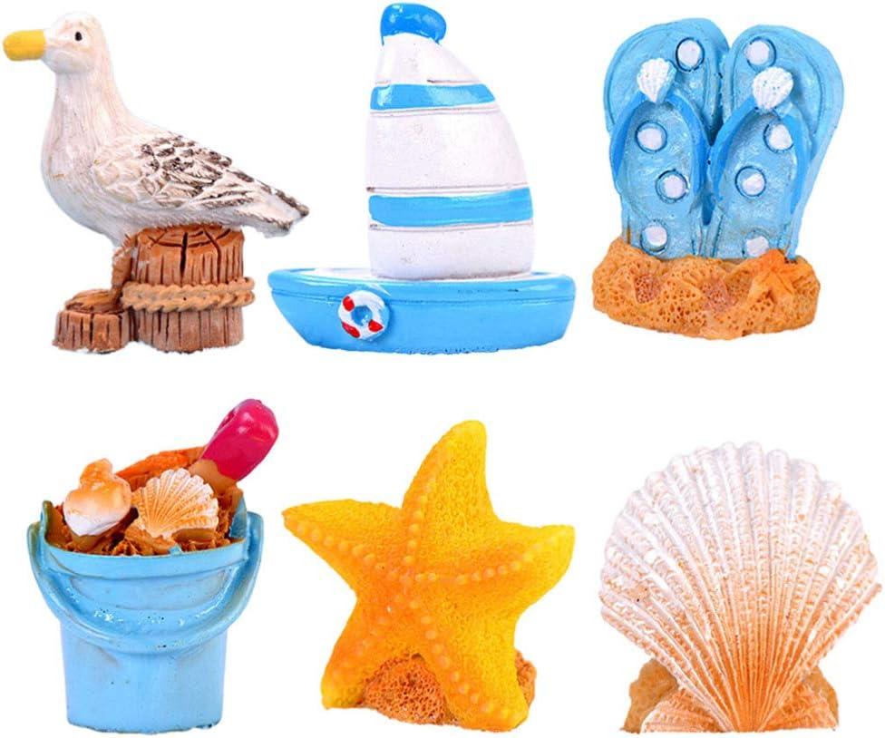 TENDYCOCO Mediterranean Figurines Resin Miniature Seashell Bird Sailing Boat Beach Bucket Shoes Nautical Model DIY Fairy Garden Showcase Decoration Crafts 6pcs