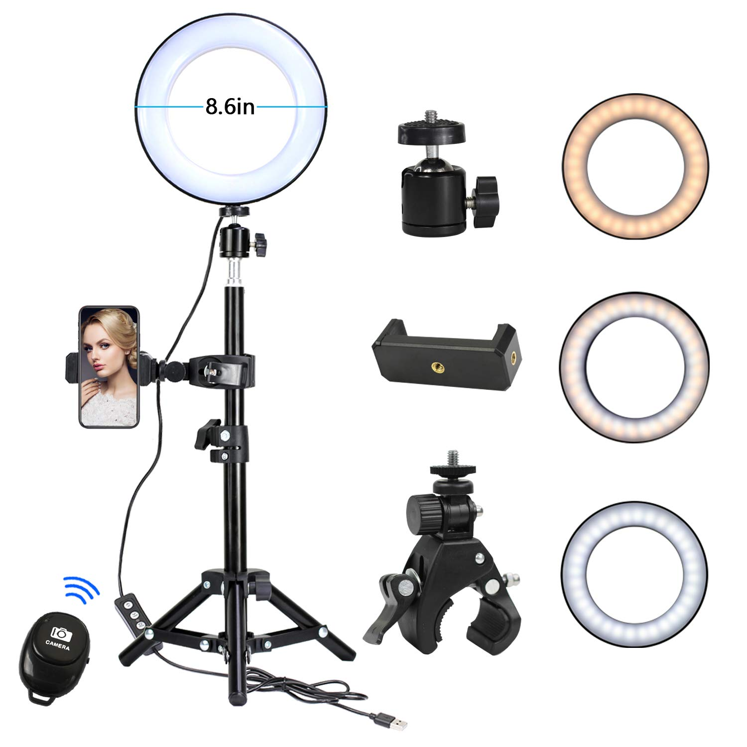 KTELE 8.6'' Selfie Ring Light with Tripod Stand for YouTube Video and Makeup with Cell Phone Holder Desktop LED Lamp with 3 Light Modes & 11 Brightness Level ,Remote by KTELE