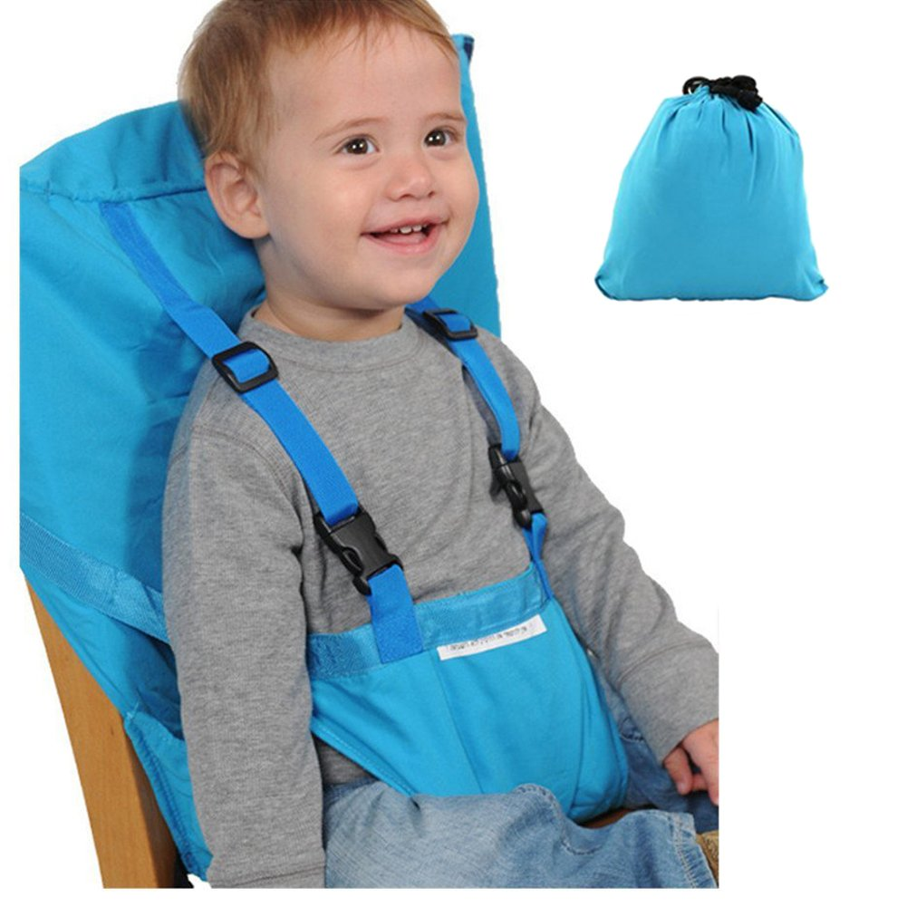 Baby High Chair Harness Portable Travel Feeding Booster Safety Seat Belt Kid Toddler Children Universal Size Soft Cotton Adjustable Straps Washable Light Blue Compact Carry Pouch