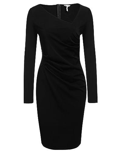 ANGVNS Women's Retro 1950s Style Long Sleeve Slim Business Pencil Dress