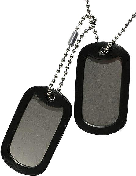 TusPlacas.es Chapas Militares: Juego de 2 Chapas de Acero INOX. y Cadenas de Acero Inoxidable (Fabricado en USA) + Gomas Silenciadores Negros - Collar de identificación Tipo Ejército Americano USA: Amazon.es: Joyería