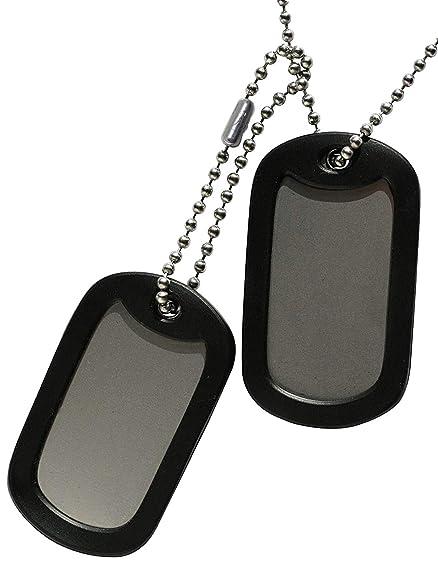 TusPlacas.es Chapas Militares: Juego de 2 Chapas de Acero INOX. y Cadenas de Acero Inoxidable (Fabricado en USA) + Gomas Silenciadores Negros - Collar ...