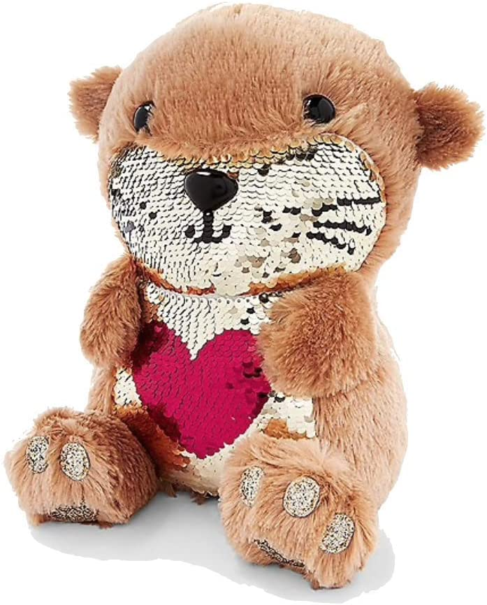 """Justice Plush Animal with Flip Sequin 10/"""" Otter"""