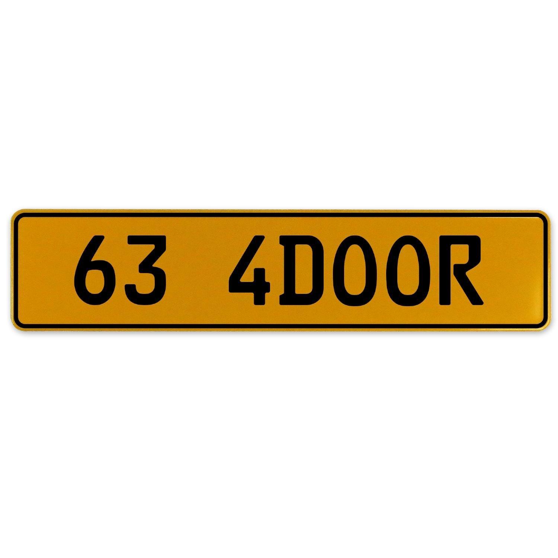 Vintage Parts 563175 63 4DOOR Yellow Stamped Aluminum European Plate