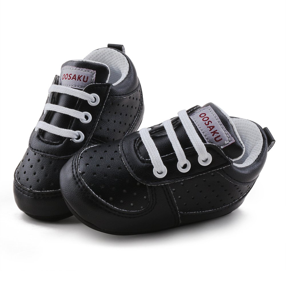 OOSAKU Baby Non-Slip First Walking Shoes Fashion Breathable Rubber Sole Sneaker (6-12 Months, Black) by OOSAKU (Image #4)