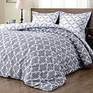 downluxe Lightweight Printed Comforter Set (King,Grey) with 2 Pillow Shams - 3-Piece Set - Hypoallergenic Down Alternative Reversible Comforter