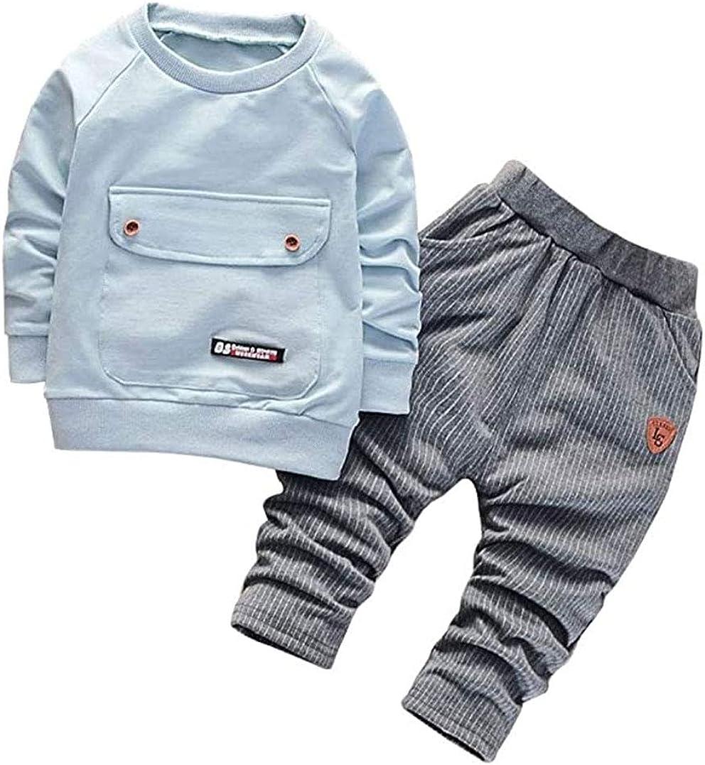 WonderBabe Baby Boy Toddler 2 Pezzi Vestiti Inverno Autunno Set Girocollo Manica Lunga Sweatshirt T-Shirt Top Pantaloni et/à 9 Mesi-4 Anni