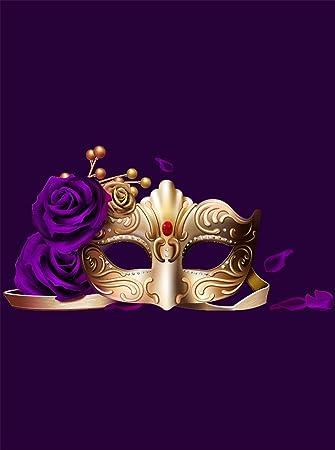 Amazon.com: Morado de flores máscara de oro de máscaras ...