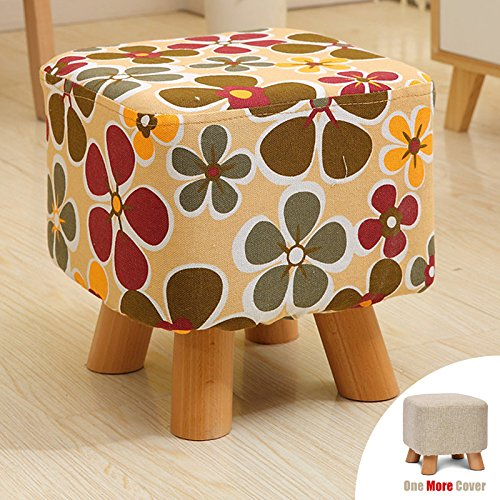 Sino Banyan Feet Stool/Ottoman with 1 More Cover,Soft Quick Detachable Cushion,Windnill & Beige (Pottery Barn Used Furniture)