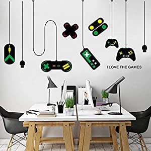 huangliao Game Wall Stickers,Gaming Controller Joystick Playroom Wall Decals for Bedroom Living Room Decor Removable Art Mural for Boys Kids Men