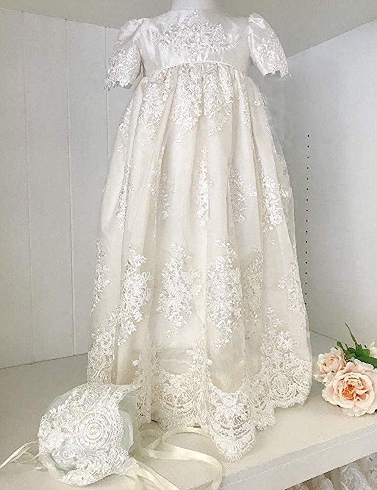 Aorme Baby-Girls Christening Gown Long Lace Baptism Dress with Bonnet