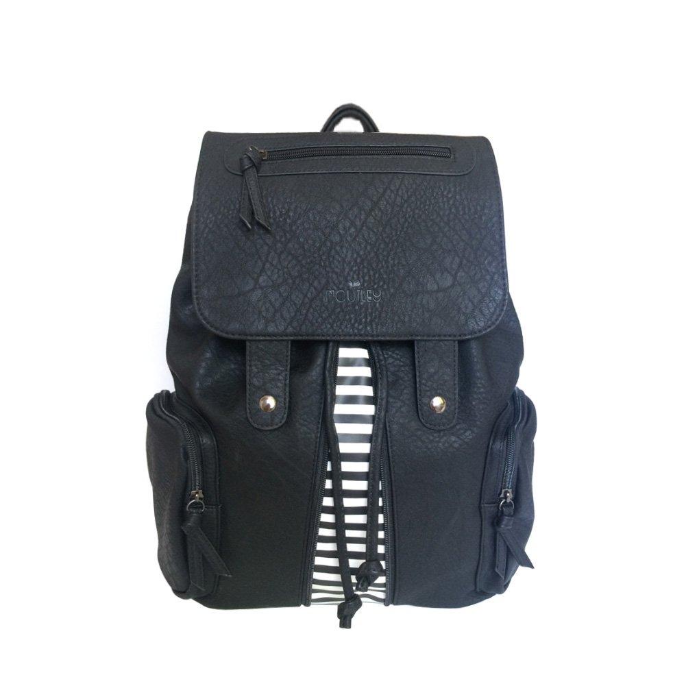 Women's PU Leather Medium Backpack Purse Shoulder Bag with Tassels (Black-stripe)