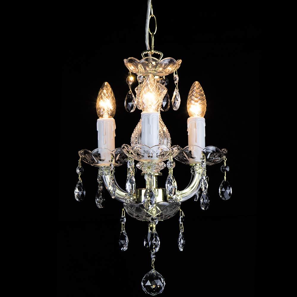 Kronleuchter Maria Theresa 3 flammig Gold - Ø27cm Venezianischen Glas - Klassische luster Goldfarben messing