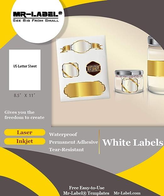 Amazon.com: Mr-Label - Papel adhesivo de vinilo blanco mate ...