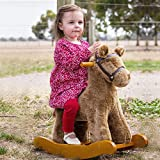 Labebe Plush Spring Children Rind on Toys Knight Rocking Horse with Realistic Sounds Rocker Kids Christmas Gifts