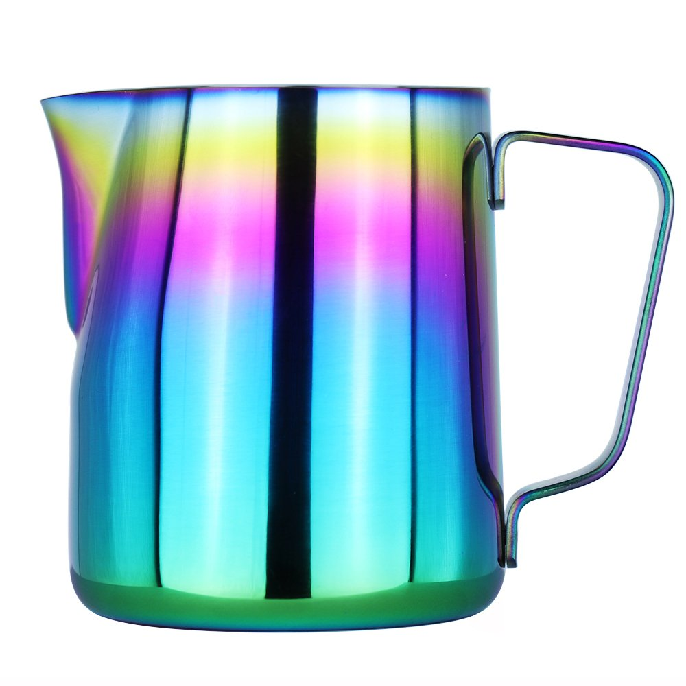 Milk Frothing Pitcher - WeHome Stainless Steel Coffee Milk Frothing Pitcher Creamer Frothing Cup for Espresso Cappuccino Latte Maker,12 oz/350ML