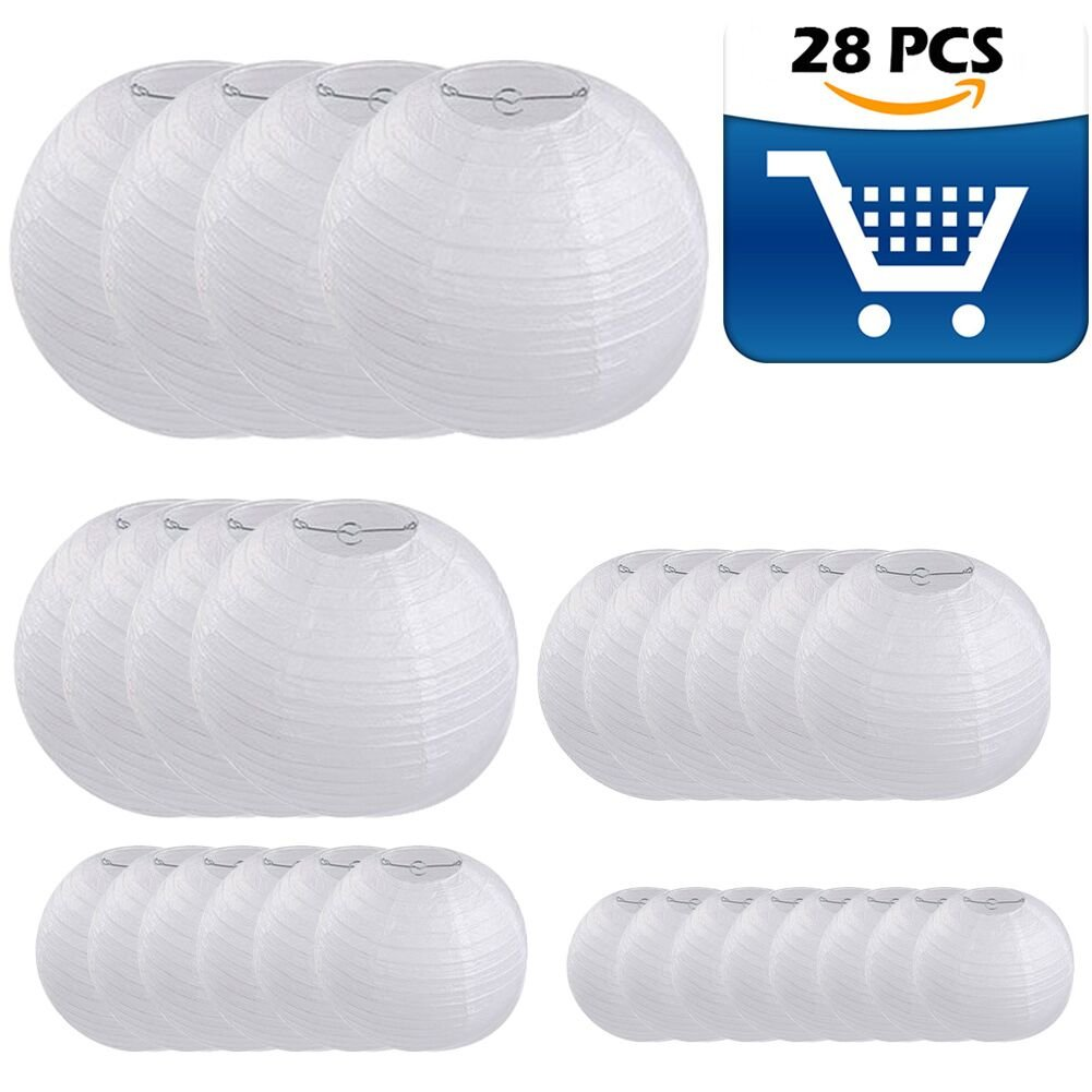 28 Packs White Paper Lanterns Decoration for Weddings, Birthdays, Parties and Events - Assorted Round Sizes (4'',6'',8'',10'',12'')