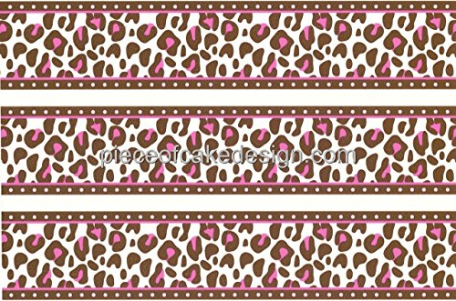 (Whimsical Practicality Pink Cheetah Print Cake Border Edible Image Cake)