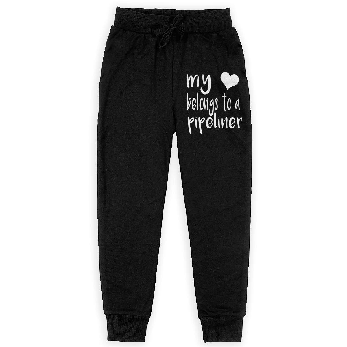 WYZVK22 My Heart Belongs to A Pipeliner Soft//Cozy Sweatpants Boys Fleece Pants for Teenager Boys