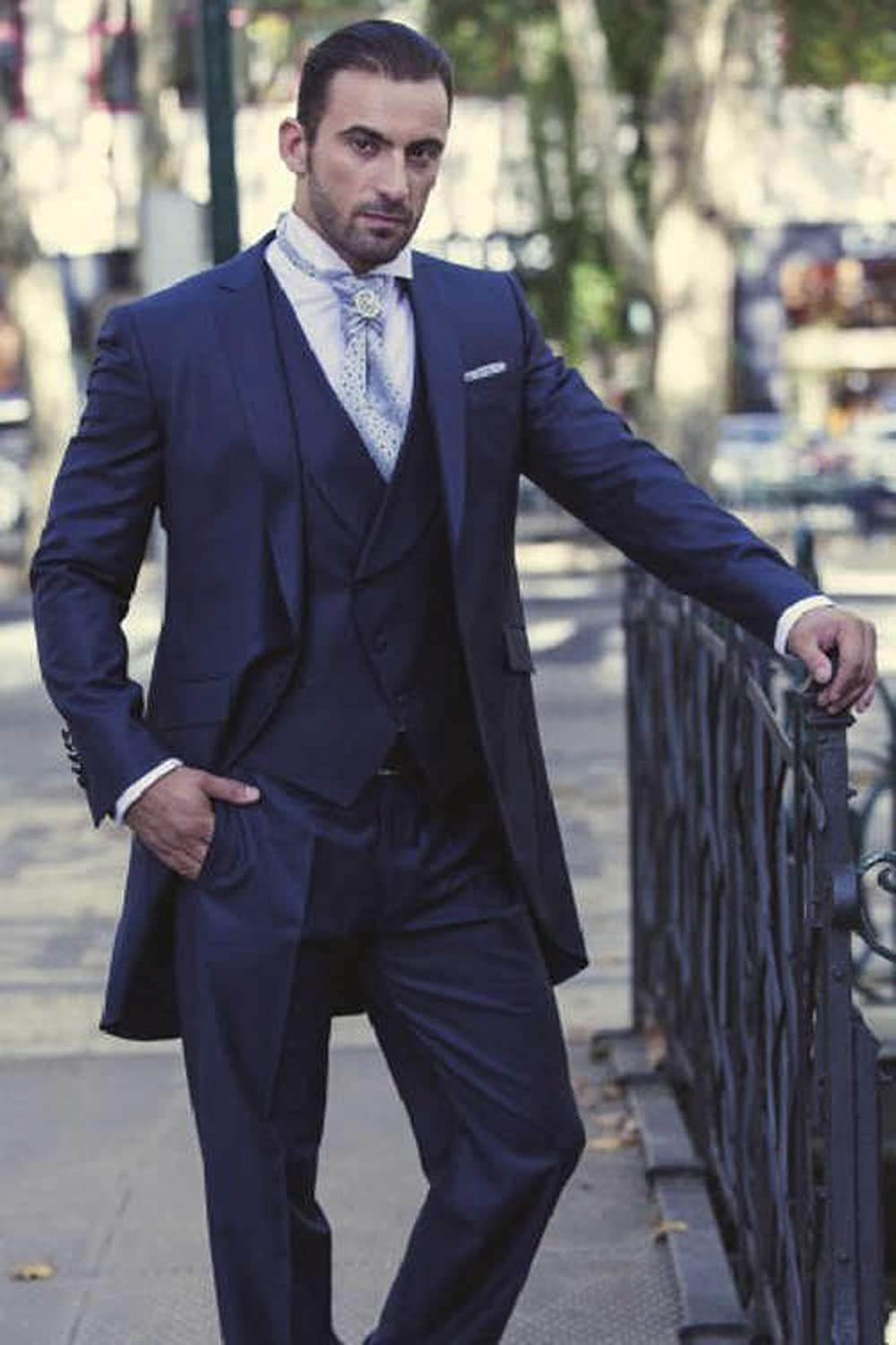 Sxfashbrd Mens Tailcoat Tux Blazer Suits 3 Piece Slim Fit Formal Jacket Pants Long Tail Tuxedos Party Coats Outerwear Navy