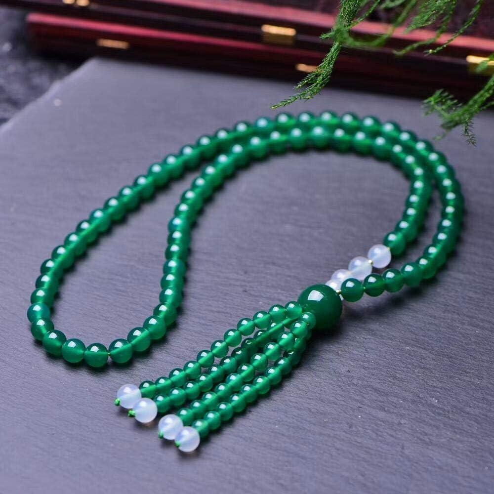 VFJLR Colgante Collar de ágata Verde Collar de Cuentas Collar de calcedonia Joyería afortunada Joyería de Jade