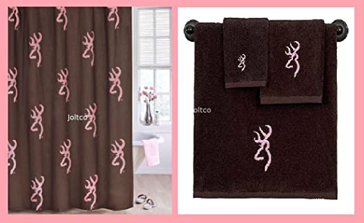 Browning Buckmark Pink /& Brown Shower Curtain Bath