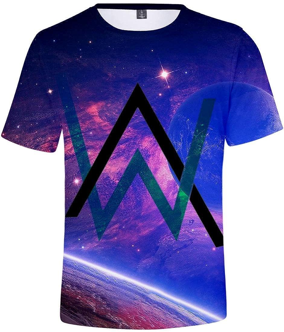 FLYCHEN Ragazzi e Bambini Maglietta AW 3D Stampa Digitale Alan Walker DJ Musicale Britannico Fashion T-Shirt Graphic Top