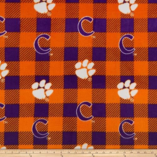 Multi Buffalo Soft - Sykel Enterprises NCAA-Clemson 1190 Buffalo Plaid Fleece Multi, Fabric by the Yard