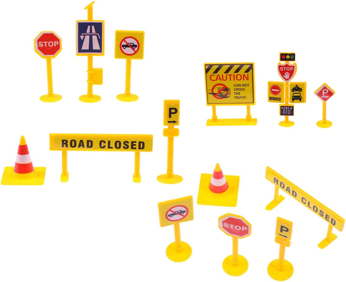 Amosfun Kids Birthday Cake Topper Set Funny Roadblock Sign Cupcake Topper Food Dessert Pick For Fireman Construction Theme Party Baby Shower Party Supplies (Yellow)