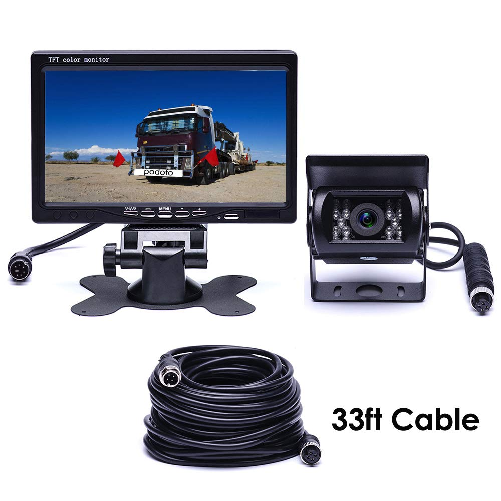 "Podofo Backup Camera Monitor Kit Waterproof Night Vision Reverse Camera 18 IR LED + 7"" TFT Rear View Monitor Parking System for RV/Bus/Trailer/Truck (with 33ft 4-Pin Aviation Extension)"