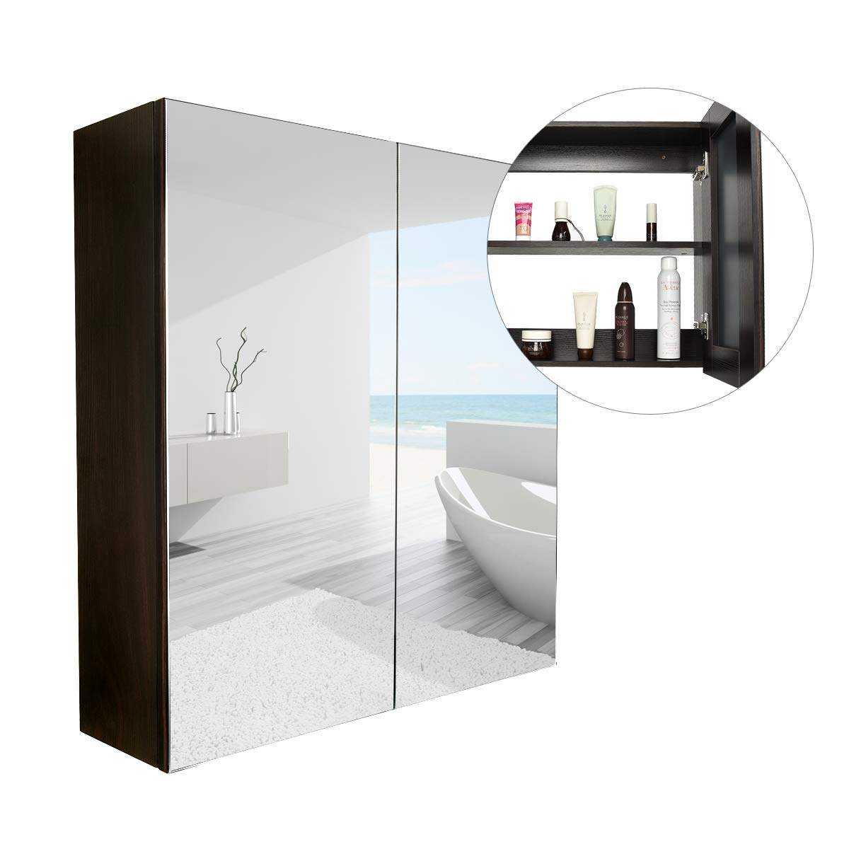 Elecwish 24'' Wide Wall Mount Mirrored Bathroom Medicine Cabinet Storage 2 Mirror Door (23.6'' 23.6'' 6.3'')