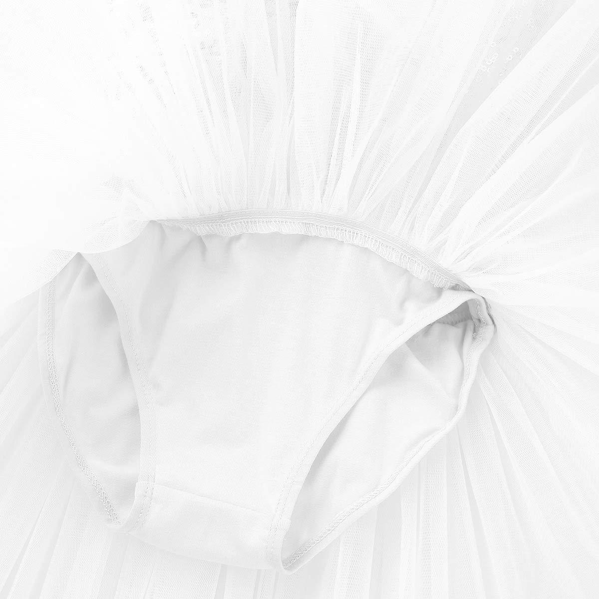 iEFiEL Vestito da Balletto Bambina Leotard Abito da Ballo per Saggio Body da Danza Ginnastica Artistica con Paillettes Tutu Dancewear Abito da Compleanno 4-8 Anni