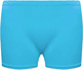 Girls Microfiber Hot Pants Shorts Dance Gym Stretch Shorts Ages 5-12 Turquoise, Ages 11-12