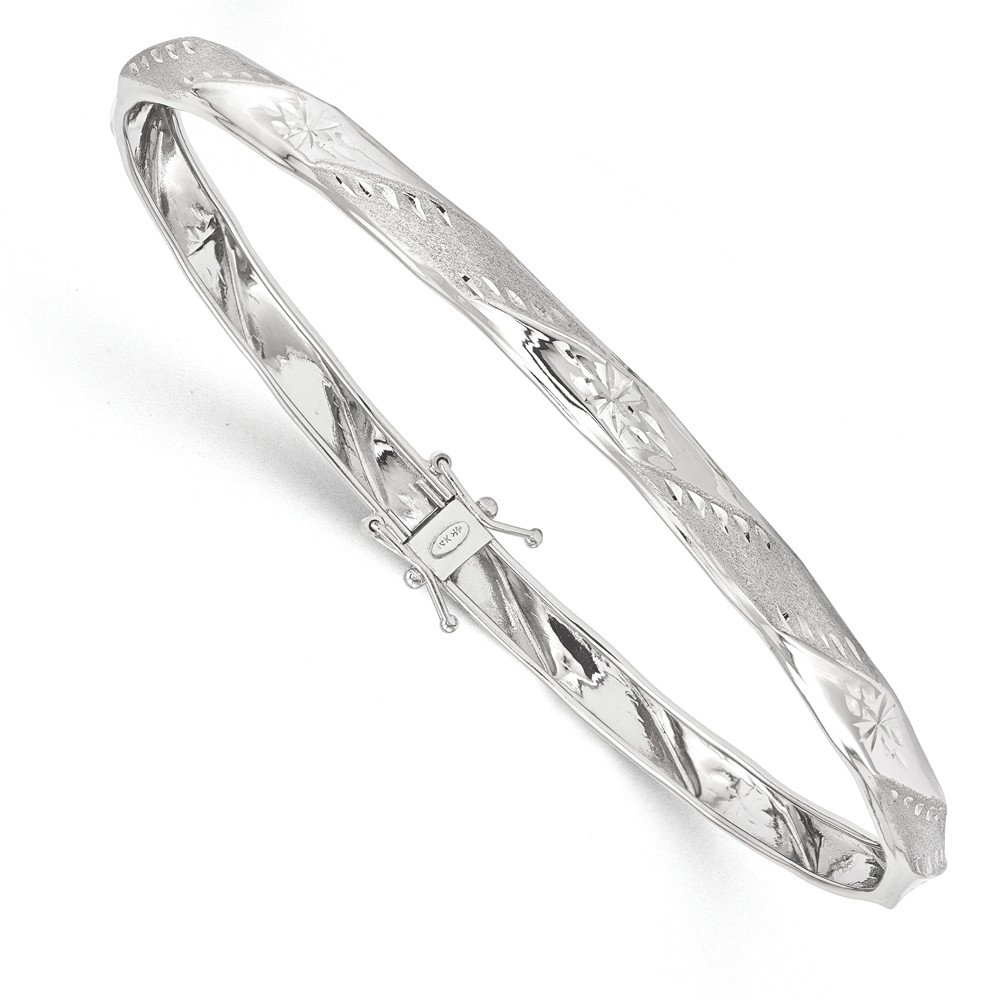 Top 10 Jewelry Gift 14k White Gold Polished Satin D/C Flexible Bangle