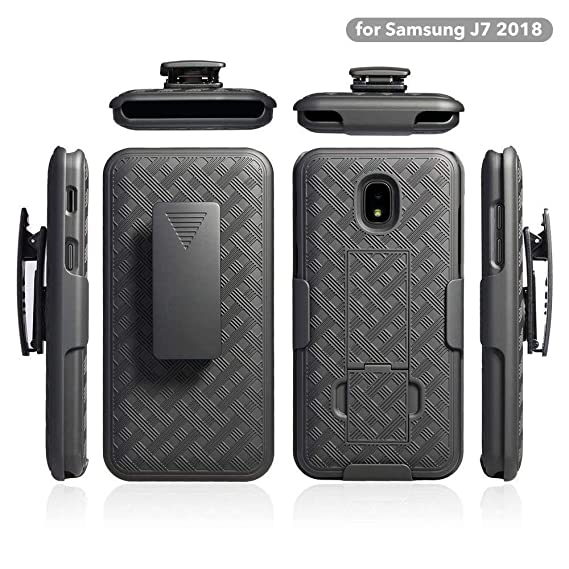 ZASE Belt Clip Holster Case for Samsung J7 2018, J7 REFINE, J7 AERO, J7  TOP, J7 STAR Tough Rugged Armor Slim Protective Black Case Defender Swivel