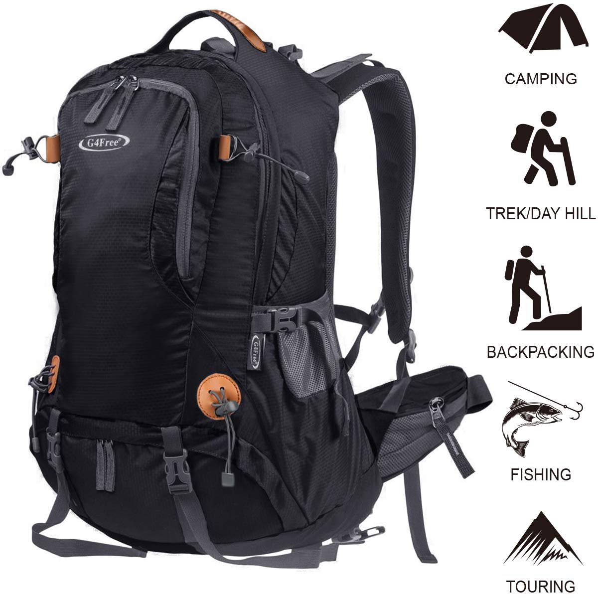 G4Free Hiking Backpack 50L Outdoor Camping Climbing Backpack Waterproof Daypack for men women with Rain Cover Black by G4Free