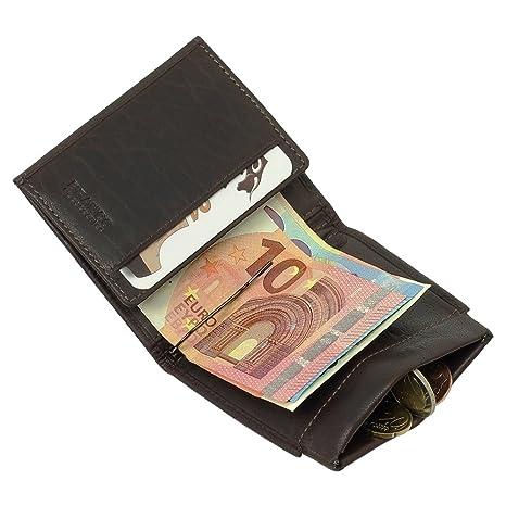 selezione migliore f7d5b c1afd Portafoglio sportivo da uomo, in pelle, con clip per banconote, colore:  nero/marrone (cognac)