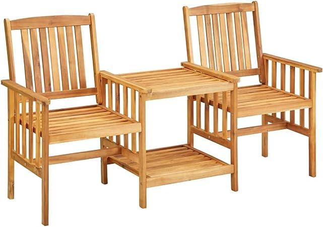 vidaXL Bois d'Acacia Solide Chaises de Jardin avec Table à